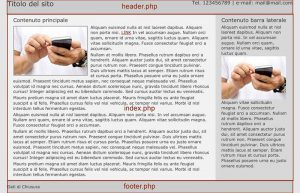 Il primo template WordPress - header e footer