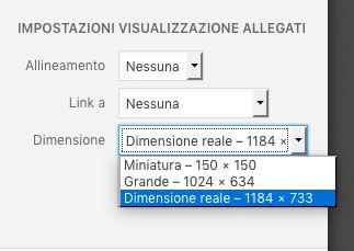 Dimensioni immagini WordPress - rimozione