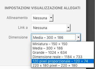 Dimensioni immagini WordPress - utilizzo