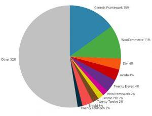 Siti internet WordPress - Genesis framework statistiche uso