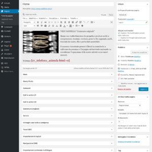 Amministrazione Home page con tutti i pannelli delle sezioni chiusi
