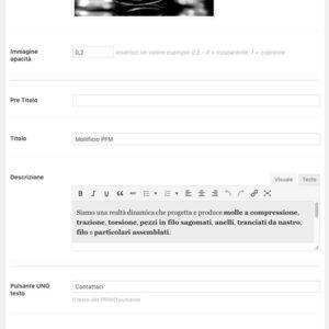Amministrazione Home page pannello sezione Hero
