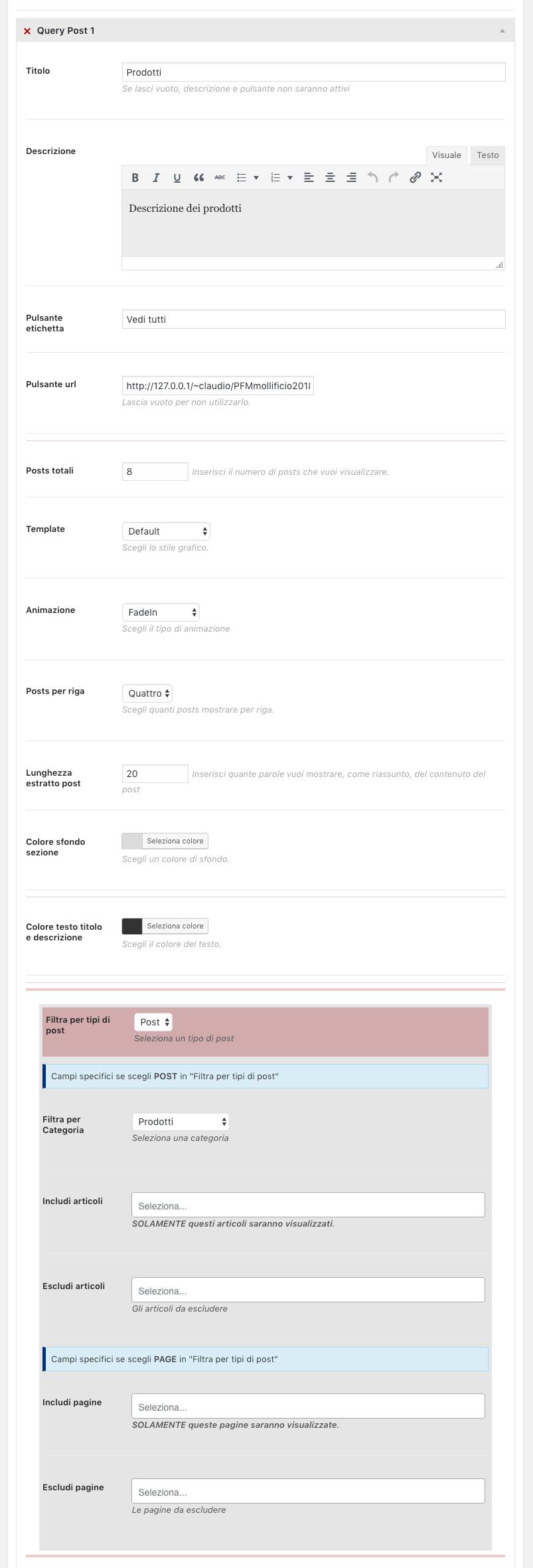 Amministrazione Home page pannello sezione Query con la query 1 aperta