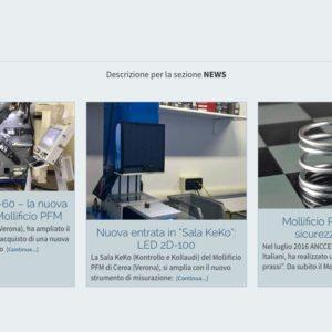 Visualizzazione Home page sezione Query con le news