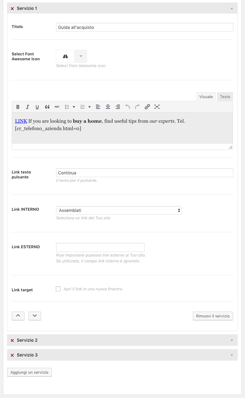 Amministrazione Home page sezione servizi - singolo servizio aperto