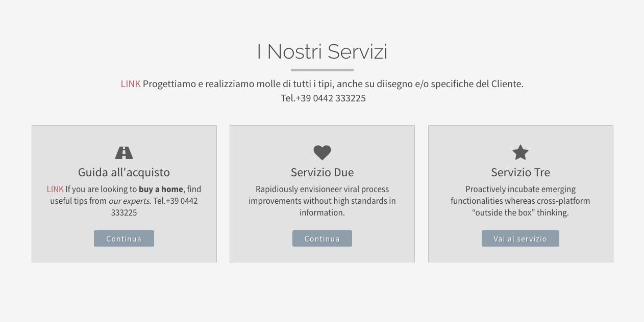 Visualizzazione Home page sezione servizi - template Classico