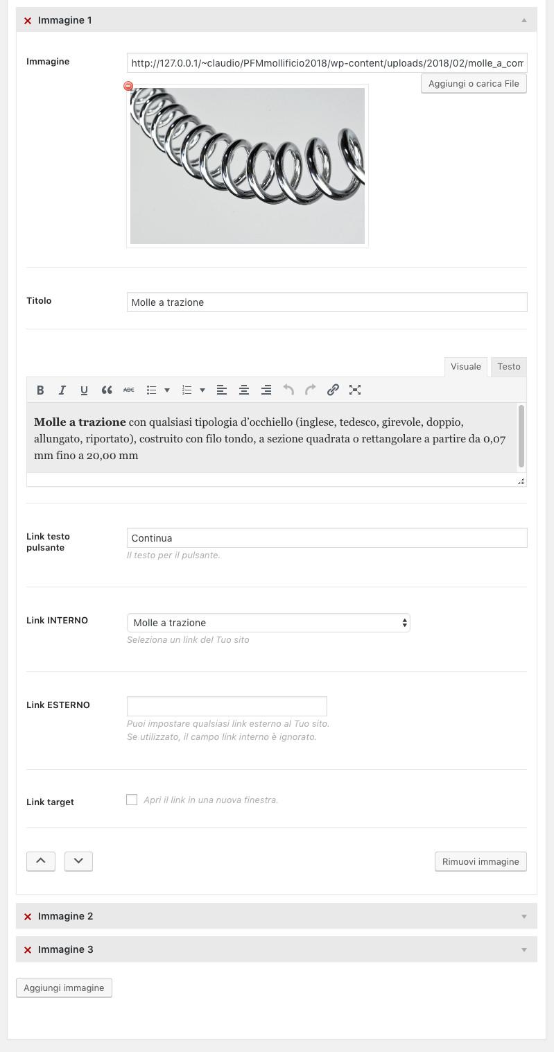 Amministrazione Home page sezione Immagini con testo a comparsa - un pannello aperto